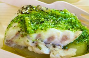 Waji Floating food selection of fresh Trevalla with Paris Mash