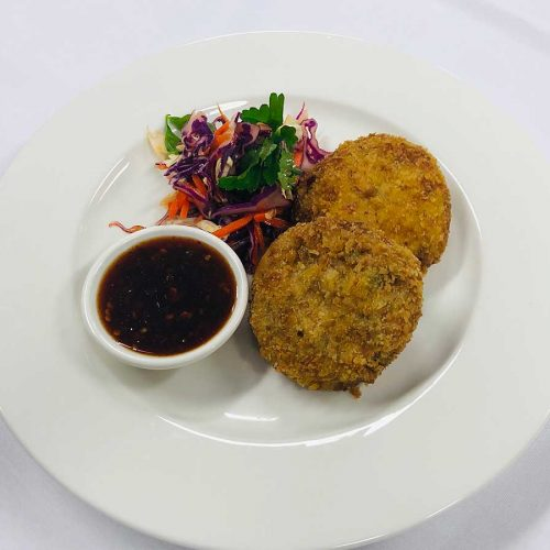 Smoked Ocean Trout Thai Fish Cakes with Thai Salad and Chilli Sauce